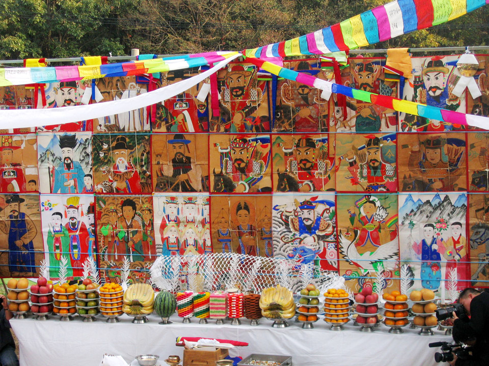GPS | Korea:  Altar of a shaman for a ritual ceremony held on an island